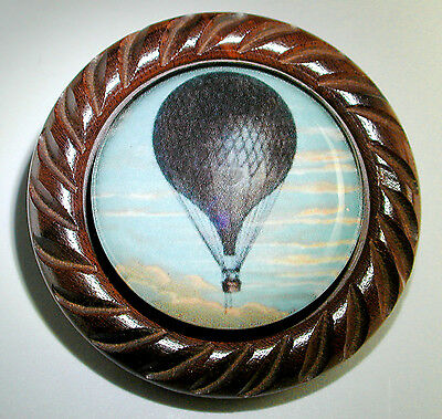 "Large Glass Dome Button Set in Carved Wood Hot Air Balloon 1 & 5/8"" FREE US SHIP"