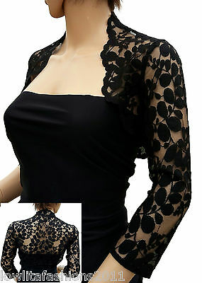 Womens Black Leaf Design Lace 3/4 sleeve Bolero/Jacket Sizes 8 to 18