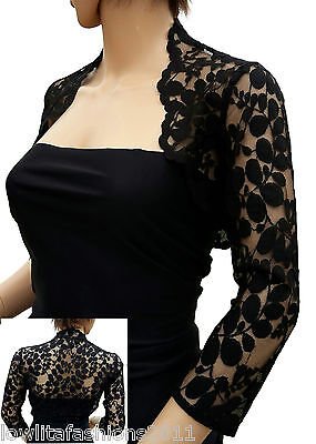 Womens Black Leaf Design Lace 3/4 sleeve Bolero , Jacket Sizes 8 to 18