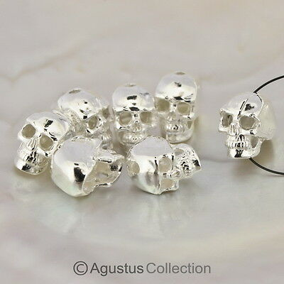 Beautiful Solid 925 Sterling SILVER detailed Human Skull BEAD 11 mm