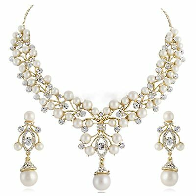 Bridal Wedding Necklace Earring Jewellery Gold Plated Luxury Party Ivory Pearl