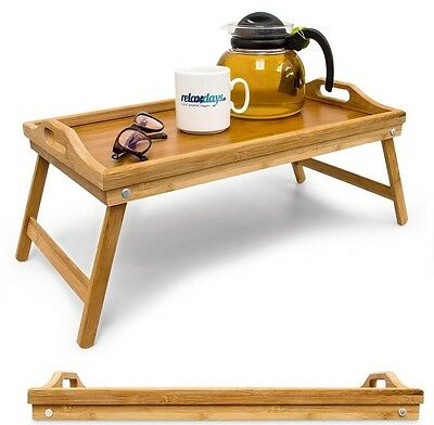 Pinewood Wooden Bed Tray With Folding Legs Serving Breakfast Lap Tray Table Mate