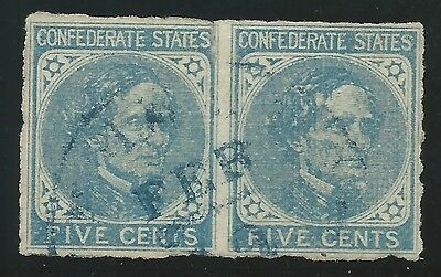 CSA Scott #7 Used Pair of Confederate Stamps Blue Lynchburg, VA CDS