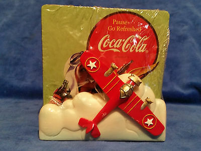 Coca Cola 4 Pc Coaster Set w/ Ceramic Plane Holder