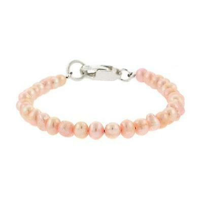 5mm Freshwater Cultured Pink Pearl Sterling Silver Beaded Infant Baby Bracelet