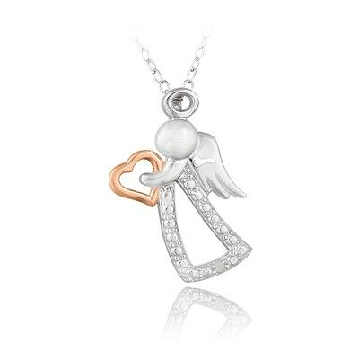 925 Silver Two Tone Rose Gold Diamond Accent Angel & Heart Necklace