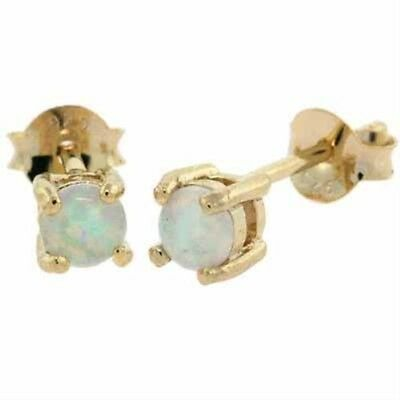 18K Gold over 925 Silver White Opal 4mm Round Stud Earrings