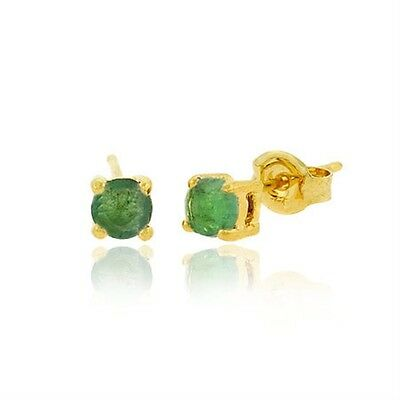 18K Gold over 925 Silver 4mm Round Emerald Stud Earrings