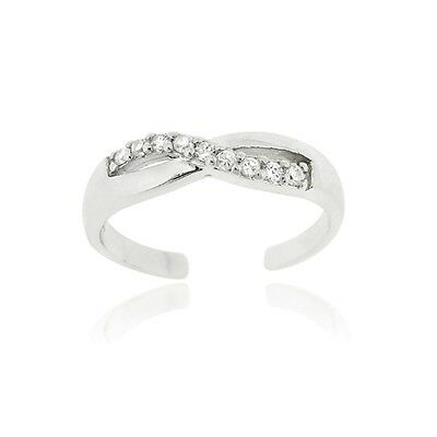 Sterling Silver CZ Infinity Toe Ring