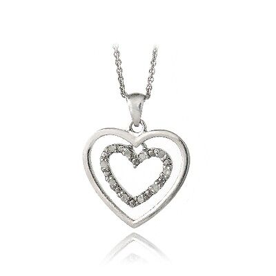 """925 Silver 1/10ct Diamond Double Hearts Necklace, 18"""""""