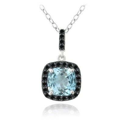 925 Silver 4ct Blue Topaz & Black Spinel Square Necklace, 18""