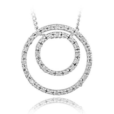 925 Sterling Silver 1/8ct Diamond Double Circle Necklace, J-K-I3