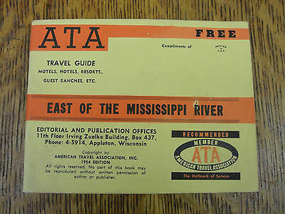 Vintage 1954 Edition East of the Mississippi River ATA Travel Guide American
