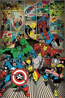 """Marvel Comics Poster """"Heroes Are Coming"""" Licensed """"Brand New"""" Spiderman, Hulk"""