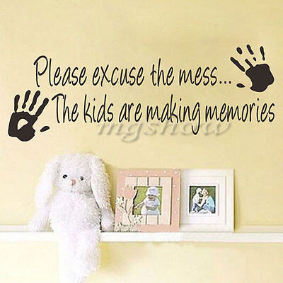 Please Excuse The Mess Words Decals Removable Home Vinyl Wall Sticker Art Decor