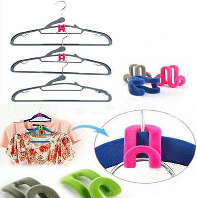 10pcs Creative Mini Flocking Clothes Hanger Easy Hook Closet Organizer Now KECA