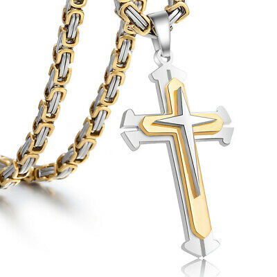 """22"""" Mens Stainless Steel Cross Pendant Necklace Byzantine Chain Gold Silver Tone"""