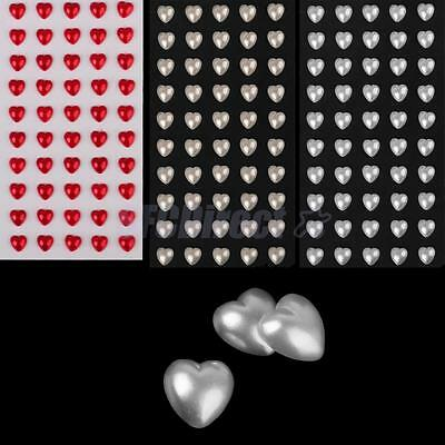 50 9mm Flatback Heart Pearls Self Adhesive Stick on Stickers Wedding Card Making