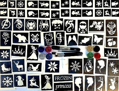 GLITTER TATTOO KIT boys and girls VALUE 76 stencils 12 glitters 1 glue 3 brushes