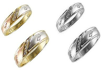 His & Her 10k Solid Tricolor White Gold Two Piece Wedding Ring Band Set 5-13