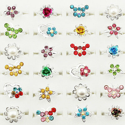 Wholesale Lot 20pcs Silver Plated Assorted Adjustable Cute Kid Children's Rings