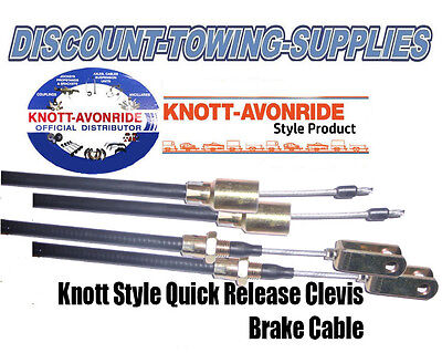 Knott Style Detachable Trailer Brake Cable x 2 with Clevis 1240 x 1400mm