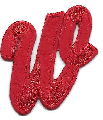 """SCRIPT LETTERS  - Red Script  2"""" Letter """"W"""" - Iron On Embroidered Applique"""
