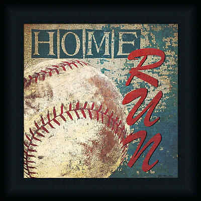 Home Run by Jo Moulton Baseball Sign Framed Art Print Wall Décor Picture