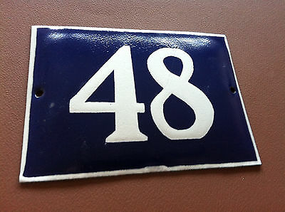 ANTIQUE VINTAGE FRENCH ENAMEL SIGN HOUSE NUMBER 48 DOOR GATE SIGN BLUE 1950's