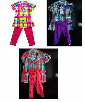 Girls Top & Leggings 2 Piece Outfit 2 to 6 years, Checked Dress Top.