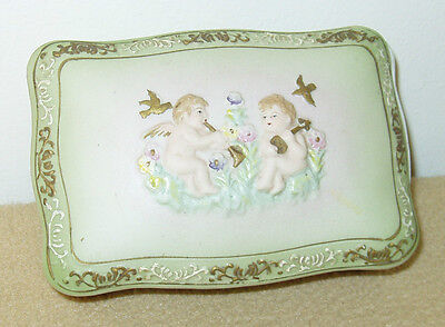 Vintage Andrea Bisque Dresser Box with Cherubs from Japan