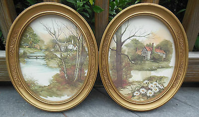 2 Oval HOMCO Framed Pictures w/Glass COUNTRY SCENE TUDOR HOME F. Massa 1983 3254