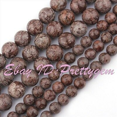 Round Brown Snowflake Obsidian Gemstone For DIY Jewelry Making Spacer Beads 15""