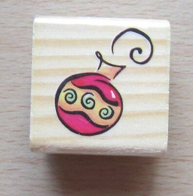 Christmas Stamp FUNKY ORNAMENT BAUBLE Wood Mounted Rubber Stamp 3.2cm x 3.2cm