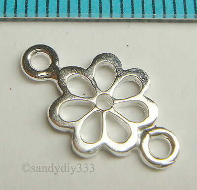 2x STERLING SILVER FLOWER CHANDELIER CONNECTOR BEADS N212