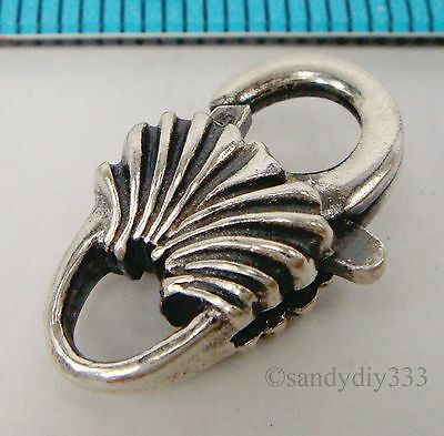 1x OXIDIZED STERLING SILVER SHELL HEAVY LOBSTER TRIGGER CLASP BEAD 18mm #1823