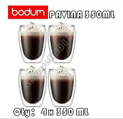 IN BOX BODUM PAVINA DOUBLE WALL CLEAR THERMO-GLASSES FOR COFFEE TEA x4 350ML