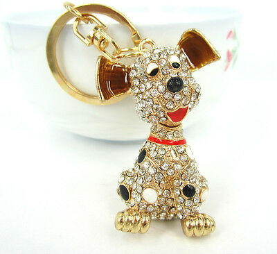 New Dog Cute Charm Lovely Pendent Swarovski Crystal Purse Bag Key Chain Gift
