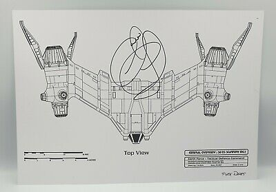 Babylon 5 : Starfury Top View A3 Blueprint On Card Signed By Claudia Christian