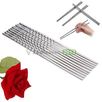 5Pairs Stainless Steel Chopsticks Anti-skip Collection Durable Tableware Kitchen