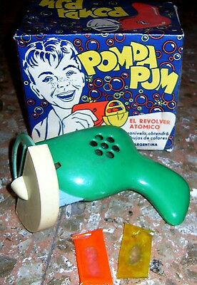 "VINTAGE ATOMIC BUBBLE GUN SPACE GUN ""POMPA PUM"" ARGENTINA 1950s HARD TO FIND!"