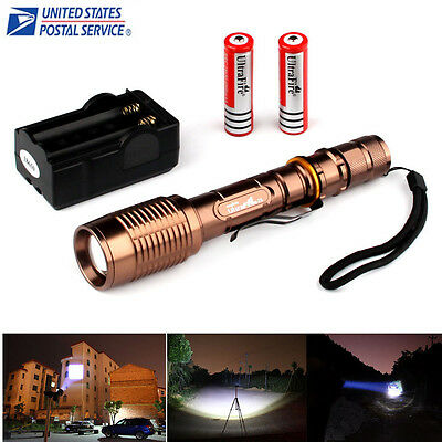 Zoomable Ultrafire 2200LM CREE XML-T6 LED  18650  Flashlight+Battery+Charger USA