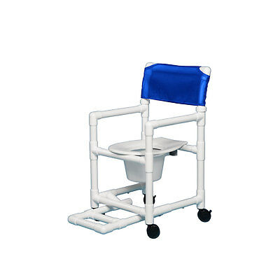 """Shower Chair Commode with Footrest 16"""" Clearance- Blue"""