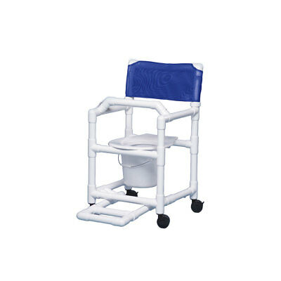 """Shower Chair Commode with Footrest & Lap Bar 17"""" Clearance- Blue"""