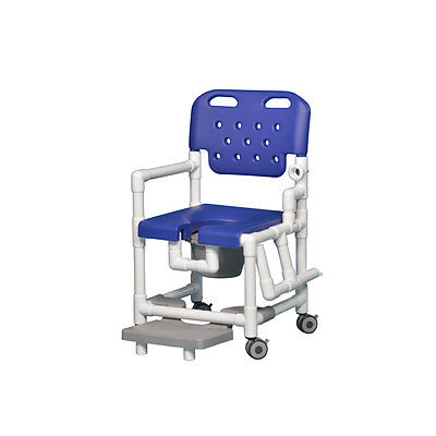 Elite Shower Chair  Commode with Footrest & Left Arm Drop Blue