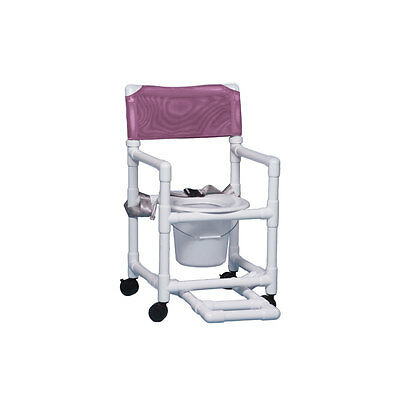 """Shower Chair Commode with Footrest & Seat Belt 17"""" Clearance-Wineberry"""