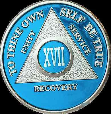 Blue Silver Plated 17 Year AA Chip Alcoholics Anonymous Medallion Coin Seventeen