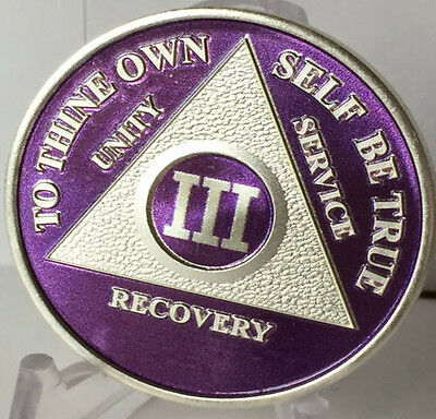 Purple & Silver Plated 3 Year AA Chip Alcoholics Anonymous Medallion Coin Three