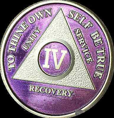 Purple & Silver Plated 4 Year AA Chip Alcoholics Anonymous Medallion Coin Four