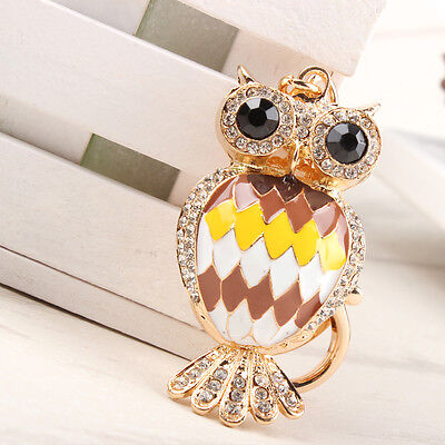 Lovely Owl Black Eyes New Cute Pendant Crystal Purse HandBag Key Ring Chain Gift